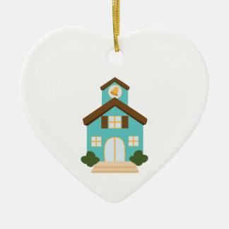 School Building Ceramic Heart Ornament