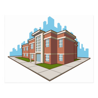 School Building Postcard