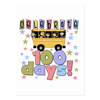 School Bus 100 Days Tshirts and Gifts Postcard