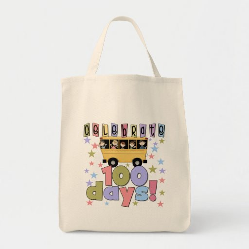 School Bus 100 Days Tshirts and Gifts Tote Bags