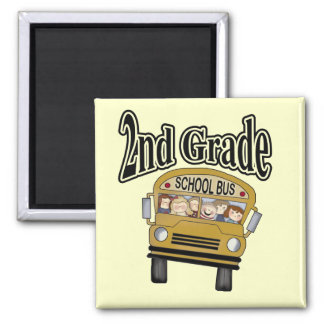 School Bus 2nd Grade Tshirts and Gifts 2 Inch Square Magnet