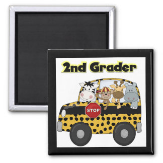 School Bus 2nd Grader Tshirts and Gifts 2 Inch Square Magnet