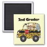 School Bus 2nd Grader Tshirts and Gifts Magnets