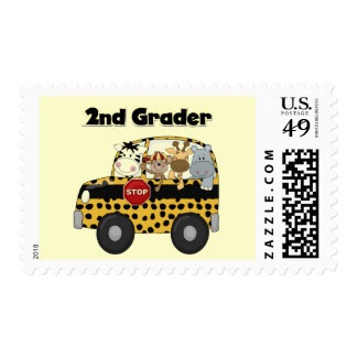 School Bus 2nd Grader Tshirts and Gifts Postage Stamps