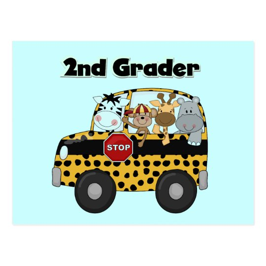 School Bus 2nd Grader Tshirts and Gifts Postcard