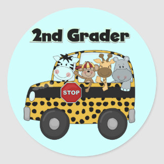 School Bus 2nd Grader Tshirts and Gifts Classic Round Sticker