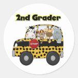 School Bus 2nd Grader Tshirts and Gifts Round Sticker
