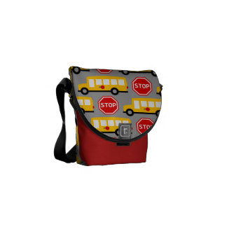 School Bus and Stop Sign Courier Bag