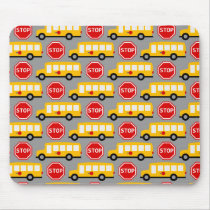 School Bus and Stop Sign Mouse Pad