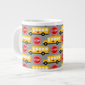 School Bus and Stop Sign Jumbo Mugs