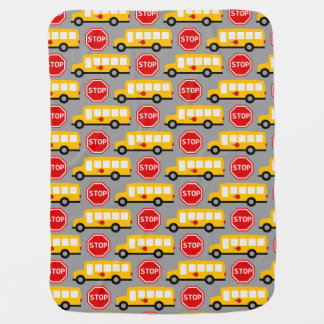 School Bus and Stop Sign Swaddle Blanket