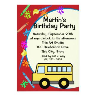 School Bus Art Birthday Invites