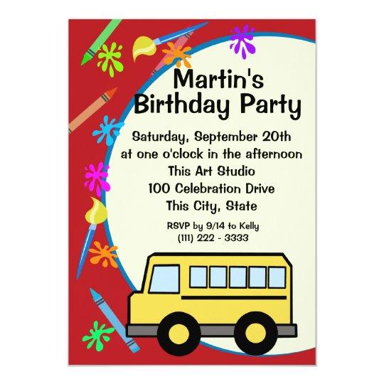 school bus art birthday invitation