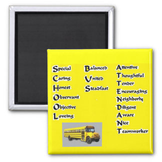 School Bus Attendant 2 Inch Square Magnet