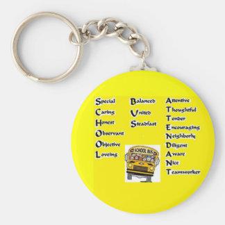 School Bus Attendant Basic Round Button Keychain