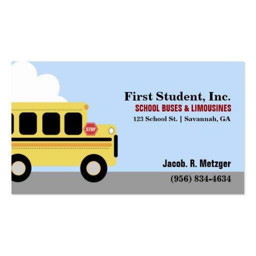 school bus automotive business card template zazzle. Black Bedroom Furniture Sets. Home Design Ideas