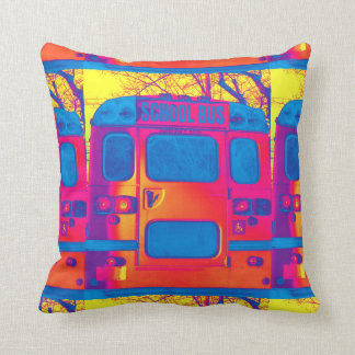 School Bus Back Altered Throw Pillow