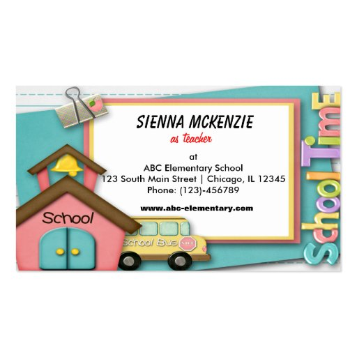 school bus business card template zazzle. Black Bedroom Furniture Sets. Home Design Ideas