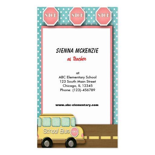 school bus double sided standard business cards pack of 100 zazzle. Black Bedroom Furniture Sets. Home Design Ideas