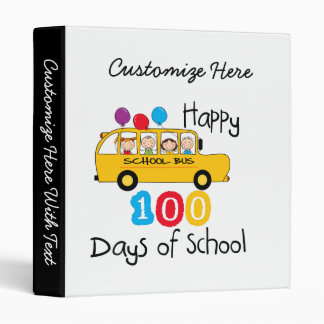 School Bus Celebrate 100 Days 3 Ring Binder