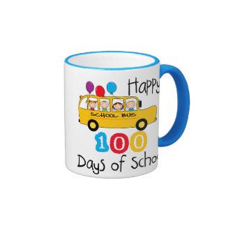 School Bus Celebrate 100 Days Ringer Coffee Mug