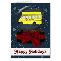 school bus Christmas Cards