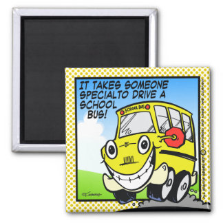 School Bus Driver 2 Inch Square Magnet