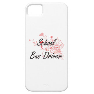 School Bus Driver Artistic Job Design with Hearts iPhone 5 Cover