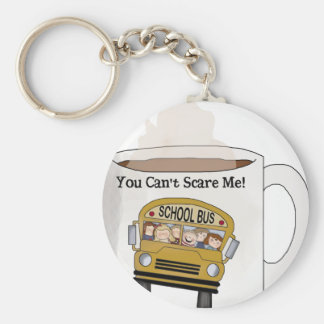 School bus driver basic round button keychain