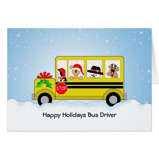 School bus driver christmas card happy holidays