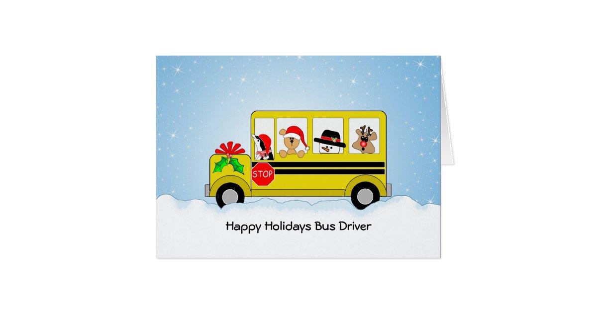 school bus driver christmas card happy holidays card. Black Bedroom Furniture Sets. Home Design Ideas