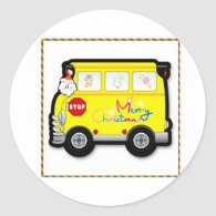 School Bus Driver Christmas Sticker
