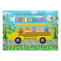 School Bus Driver Custom Thank You | Cute Animals Card