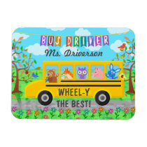School Bus Driver Cute Animals | Personalized Name Magnet