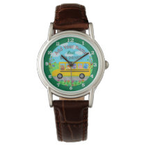 School Bus Driver Cute Animals | Personalized Name Wrist Watch