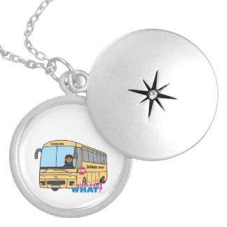 School Bus Driver Dark Silver Plated Necklace