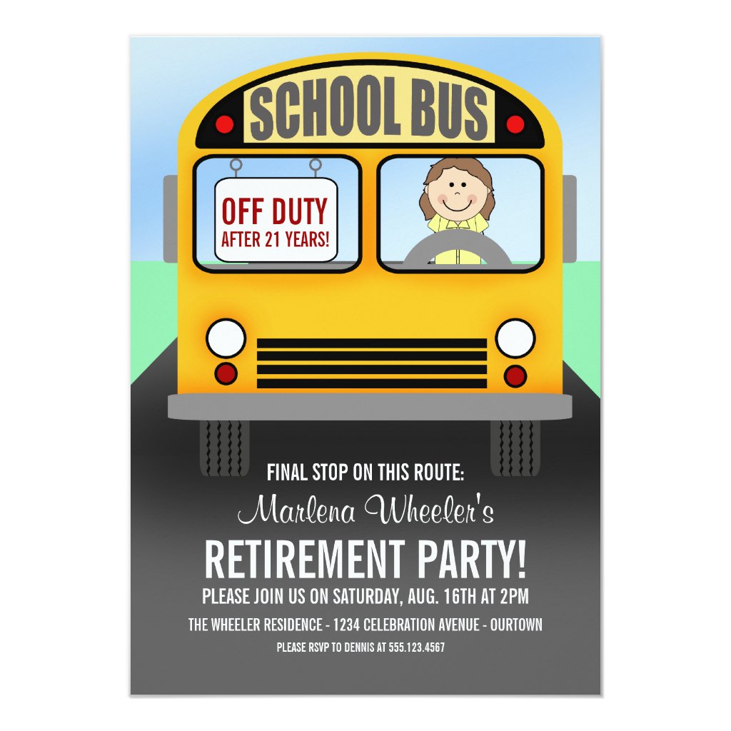 School Bus Driver Retirement Party Invitations
