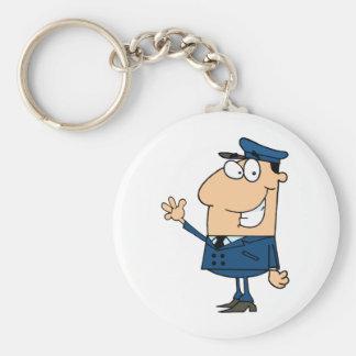 School Bus Driver School Waving Basic Round Button Keychain