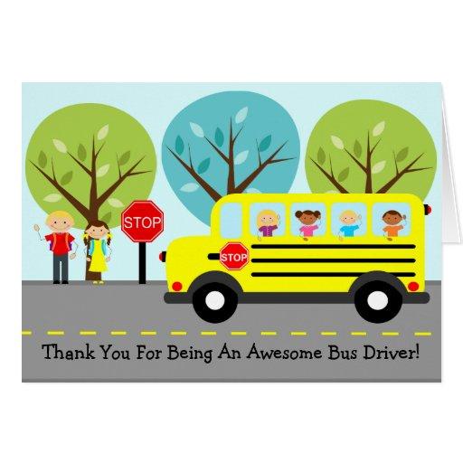 Adorable image with bus driver thank you card printable