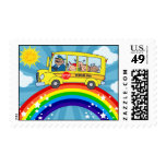 School Bus Driving on a Rainbow Postage Stamps