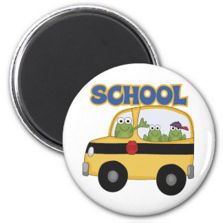 School Bus Frogs 2 Inch Round Magnet