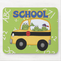 School Bus Frogs Mouse Pad