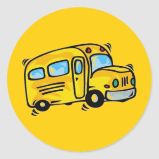 SCHOOL BUS GRAPHIC BACK ELEMENTARY GRADES LEARNING CLASSIC ROUND STICKER