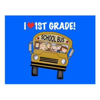 School Bus I Love 1st Grade Tshirts and Gifts Postcard