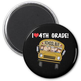 School Bus I Love 4th Grade 2 Inch Round Magnet