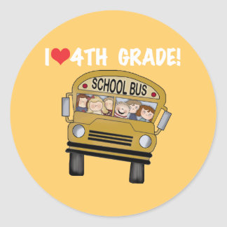School Bus I Love 4th Grade Classic Round Sticker