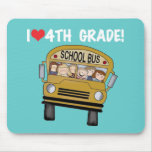 School Bus I Love 4th Grade Mouse Pads