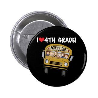 School Bus I Love 4th Grade Pinback Button