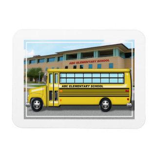 School Bus in Front of School Magnet