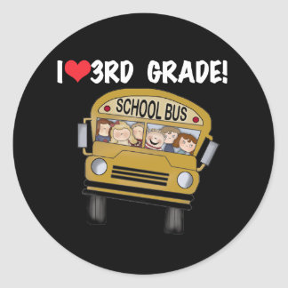 School Bus Love 3rd Grade Classic Round Sticker